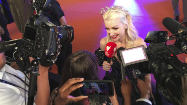 Australian singer Kate Miller-Heidke meets the press at the Eurovision Song Contest.