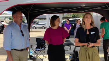 LNP leader Deb Frecklington with Surfers Paradise MP John-Paul Langbroek and Mansfield candidate Janet Wishart.