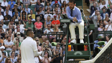 Kyrgios argued with umpire Damien Dumusois, leading to a code violation for unsportsmanlike conduct.