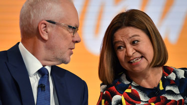 Former ABC chairman Justin Milne (left) and former managing director Michelle Guthrie.