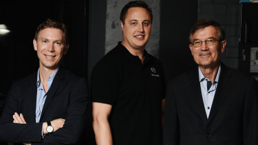 Earlytrade co-founder Guy Saxelby (centre, pictured with Charles Gibbon and Zac Zavos of investor Shearwater Growth Equity on right ) thinks it will be some time before the private sector can move to five-day payment times.