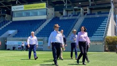 Premier Annastacia Palaszczuk visits the Sunshine Coast Stadium on Friday.