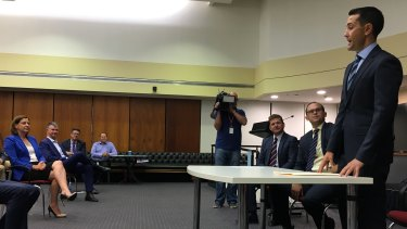 David Crisafulli addresses the LNP party room in Brisbane for the first time as leader.