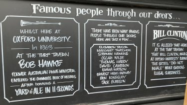 A sign at the Turf Tavern in Oxford.