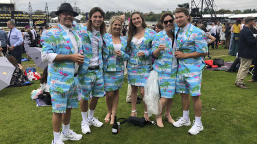 NSW punters Brian, Bob, Brenda, Brittany, Bridgette and Bruce Brophy are birds and blokes of paradise.
