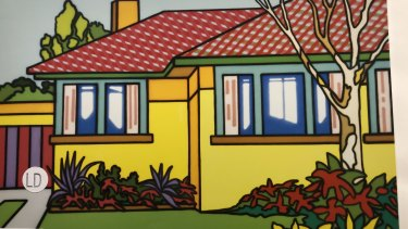 Catalogue image of Well Suited Brick Veneer (detail), attributed to Howard Arkley but now under dispute. The painting was sold by Gould Galleries to its current owner in 2002.
