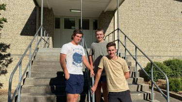 """""""One battle to the next"""": Corryong College VCE students Riley Saxon, Tom Sheather and Ryan Norman."""