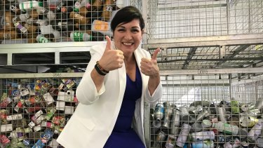 Environment Minister Leeanne Enoch gives Queenslanders the thumbs up for accepting container recycling.