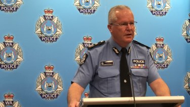 WA Police Commissioner Chris Dawson speaking to media on Monday afternoon.