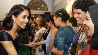 Meghan, the Duchess of Sussex, meets guests at a reception hosted by the Governor-General celebrating the 125th anniversary of women's suffrage in New Zealand in October.