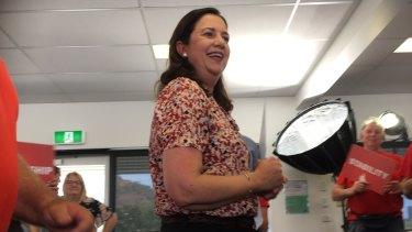 Premier Annastacia Palaszczuk on the hustings in Townsville on Sunday.