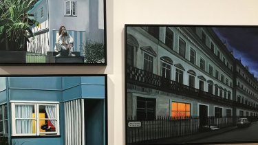 Three Anne Wallace paintings grouped together by curator Vanessa Van Ooyen.