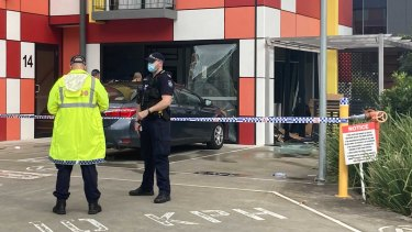 The scene of a gas bottle explosion at a café in Energy Circuit in Robina.