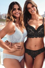 Samantha Harris (L) and Robyn Lawley in the new Body Bliss by Bras N Things body confidence campaign shot at Bondi Icebergs.