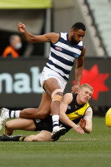 Ryan Garthwaite of the Tigers and Esava Ratugolea of the Cats compete for the ball at the MCG.