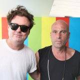 Angus McDonald from Sneaky Sound System and Icebergs owner impressario Maurice Terzini.
