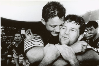 Two tries and a grand final win in his last game of Rugby League... an elated Royce Simmons is embraced by Mark Geyer at full-time on September 22, 1991.