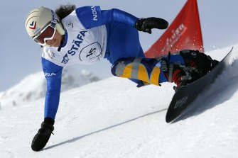 Julie Pomagalski, pictured competing in 2007, died in the avalanche in the Swiss Alps on Tuesday.