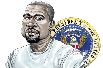 Kanye West is making a tilt for president. Illustration: Joe Benke
