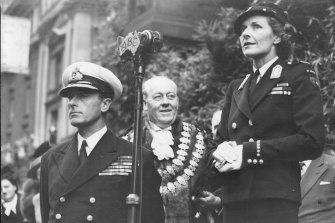 Lord Louis Mountbatten, Lord Mayor (G R Connelly) & Lady Mountbatten speaking at the Melbourne Town hall in 1946.
