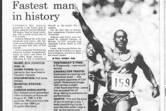 The Sun-Herald reported on Ben Johnson's win on September 24, 1988, before his drug cheating was revealed.