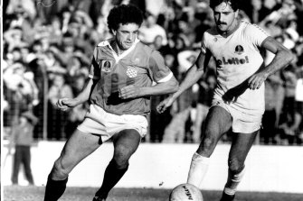 Graham Arnold (left) during his time with Sydney Croatia, as they were known in 1985.