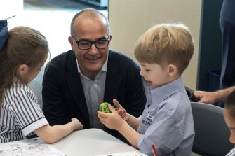 Education Minister James Merlino visits preps at the newly opened  Docklands Primary School.