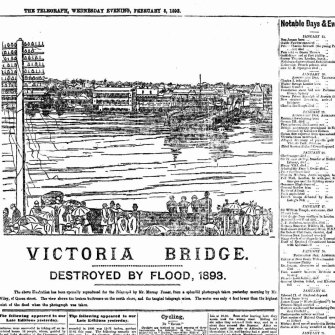 The front page of the Telegraph on February 8, 1893, when the Victoria Bridge washed away.