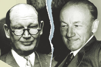 Digitally altered image: Kerry Packer and Don Bradman.
