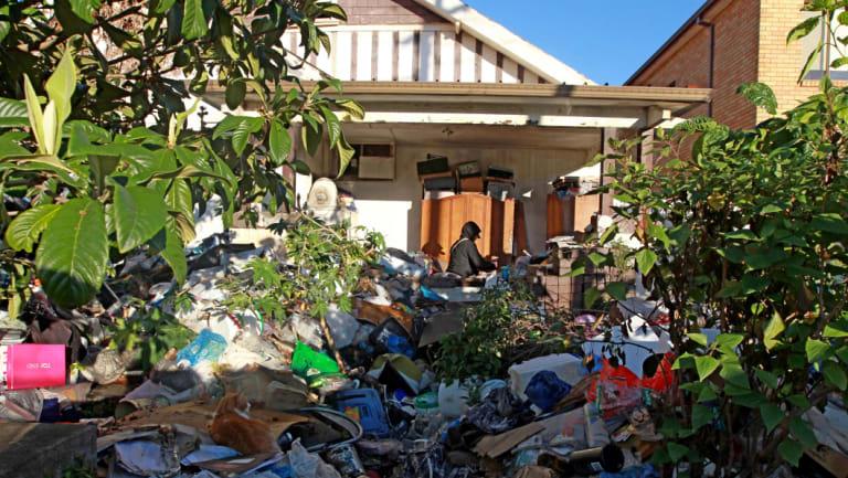 Mary Bobolas' rubbish-strewn Bondi home.