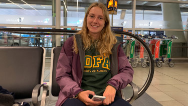 Erin Kubian, from Canada, has been stranded in Sydney due to the Sydney Airport delays.