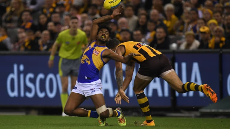 Willie Rioli and Shaun Burgoyne when the Eagles played the Hawks earlier this year.