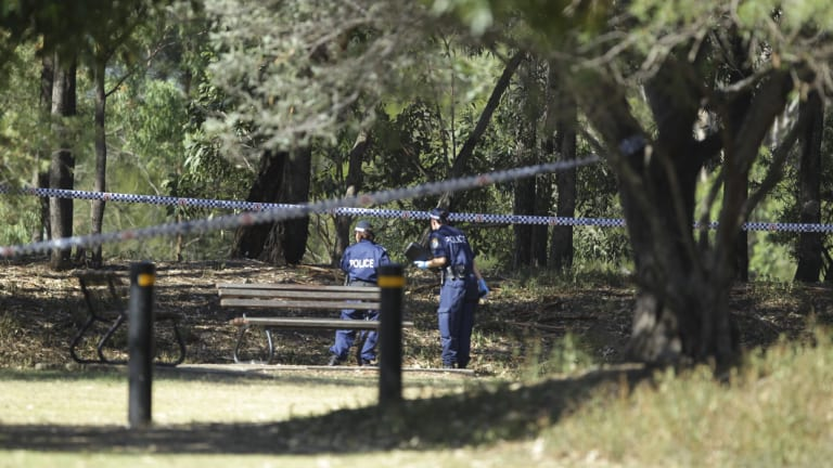 Police at Dock River Reserve after Darren Galea's body was found.