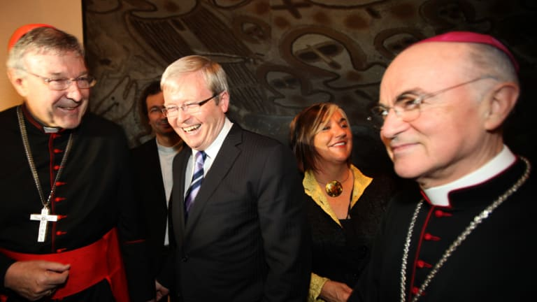 In 2010, then-Foreign Minister Kevin Rudd meets Cardinal George Pell and Cardinal Vigano at an event in Rome.