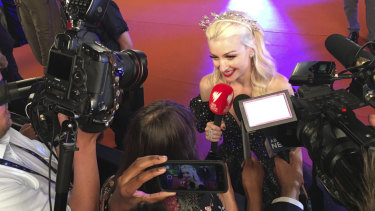 Australian singer Kate Miller-Heidke meets the press at the Eurovision Song Contest.