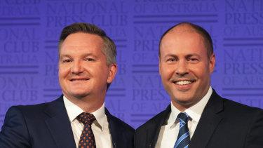 Treasurer Josh Frydenberg and shadow treasurer Chris Bowen at the National Press Club.