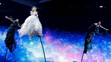Puppets on a string: Kate Miller-Heidke performs Zero Gravity on stage in Tel Aviv.