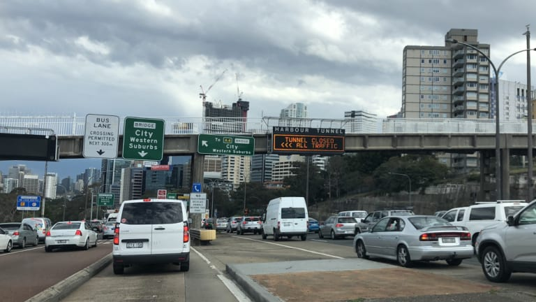Traffic at a standstill on the Harbour Bridge on Friday afternoon.