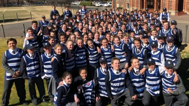 Ready to go: A huge group of students from The Armidale School are running this year's City2Surf.