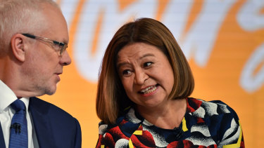 Former ABC chairman Justin Milne and then managing director Michelle Guthrie.