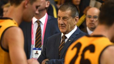 """Hawthorn president Jeff Kennett claimed the """"behavioural security officers"""" at Marvel Stadium were """"new arrivals""""."""