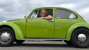 Kat Hawke and her 1973 VW Beetle.