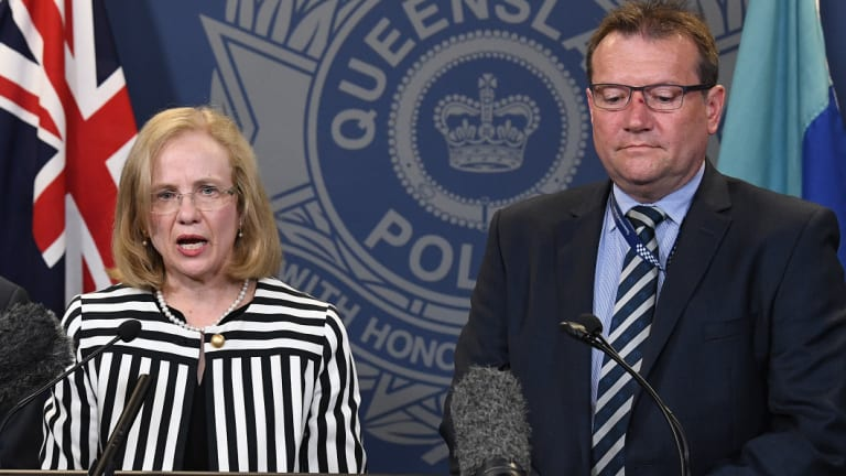 (From left) Queensland chief health officer Jeanette Young and Acting Chief Superintendent of state crime command Terry Lawrence address the media regarding the strawberry contamination.