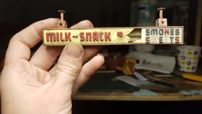 Some of the extraordinary detail Smith has put into his miniature of the Olympia milk bar.