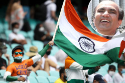 An Indian fan in the crowd at the SCG in January 2021 during the third Test between Australia and India and (inset) Darshak Mehta.