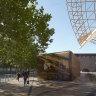 Arts Centre pavilion made of polycarbonate bronze links