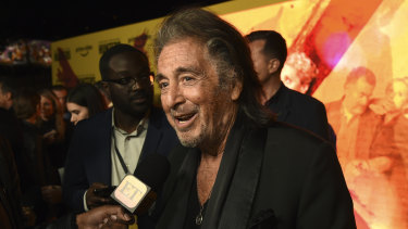 """Al Pacino, the star of Amazon Prime Video series """"Hunters,"""" is interviewed at the premiere of the show in Los Angeles last week."""