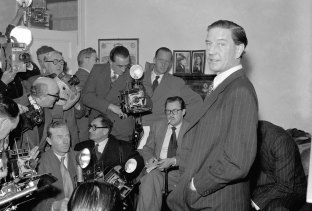 Former British diplomat Kim Philby, who was at that time accused of spying for Russia, during a press conference at his parents' home in London, 1955.