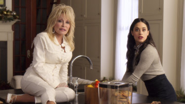 Parton with her Christmas on the Square co-star Jeanine Mason.