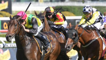 Home and hosed: The Chosen One forges clear for Blake Shinn in the Frank Packer Plate.